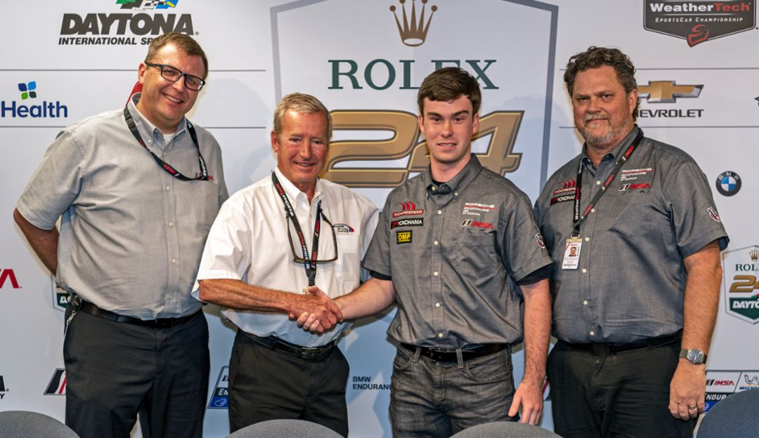 Riley Dickinson named the 2020 IMSA Hurley Haywood Scholarship Winner; John Doonan, IMSA; Hurley Haywood; Riley Dickinson; David Moore, Moorespeed, l-r, 2019, PCNA