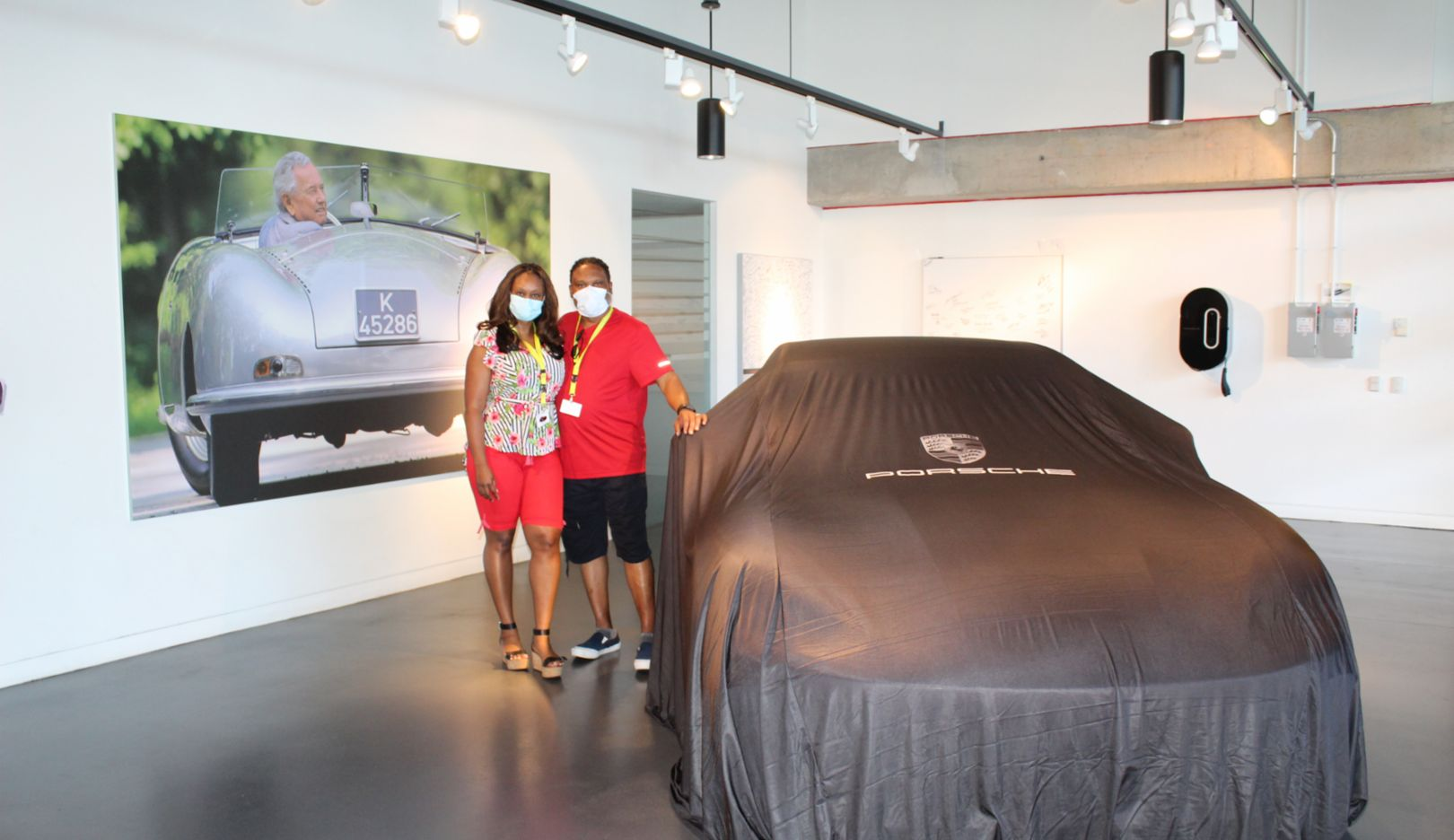 New Vehicle Delivery no. 1000, Tamekia Cathright, Dr. Edward Cathright, Porsche Experience Center Atlanta, 2020, PCNA