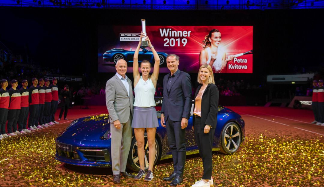 Markus Günthardt, Tournament Director, Petra Kvitova, title-holder, Oliver Blume, Chairman of the Executive Board Porsche AG, Anke Huber, Operating Tournament Director of the Porsche Tennis Grand Prix l-r, 2019, Porsche AG
