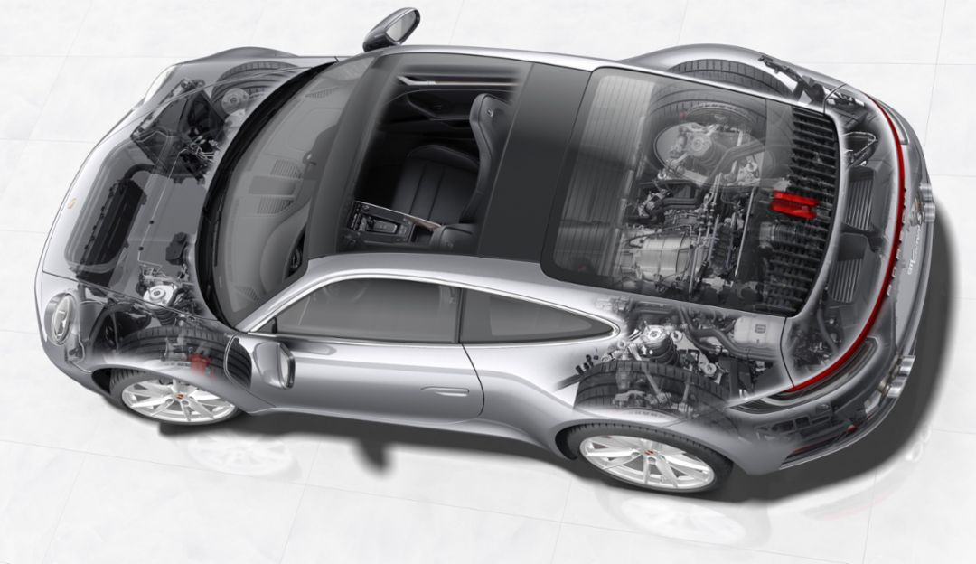 The powertrain of the new 911 Carrera, 2019, Porsche AG