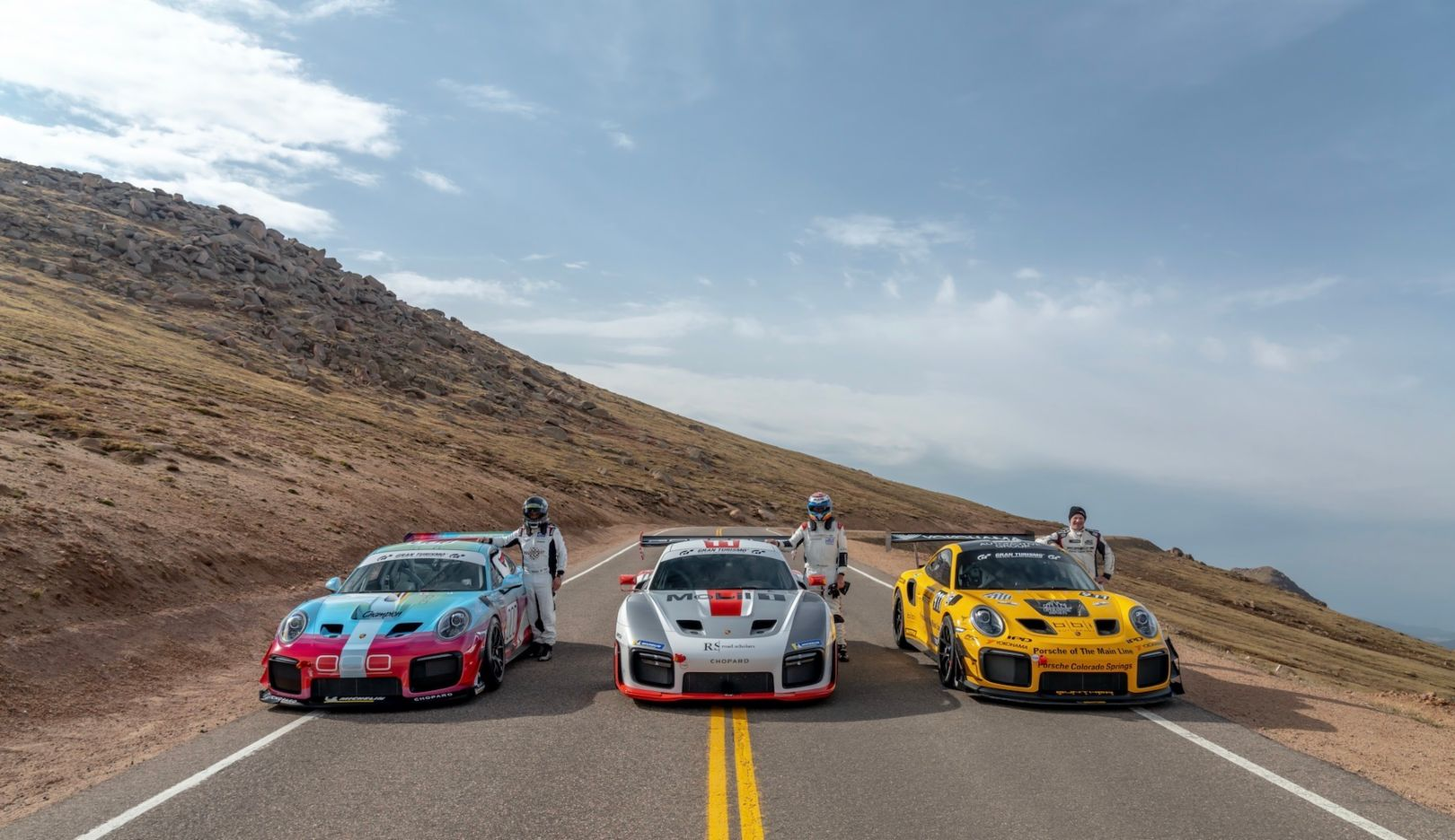 David Donner and his 911 GT2 RS Clubsport, Jeff Zwart and his 935, David Donohue and his 911 GT2 RS Clubsport, l-r, Pikes Peak International Hill Climb, 2020, Porsche AG