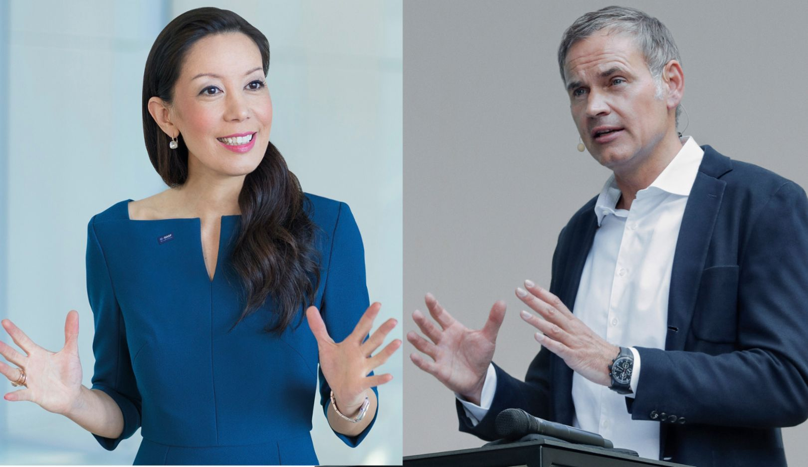 Saori Dubourg, Executive Board Member at BASF, Oliver Blume, Porsche CEO, l-r, 2020