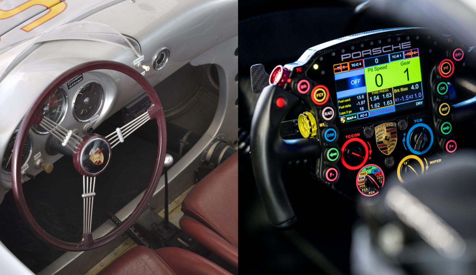 Comparison of the steering wheels of the 550 Spyder and the 911RSR (2019), 2020, Porsche AG