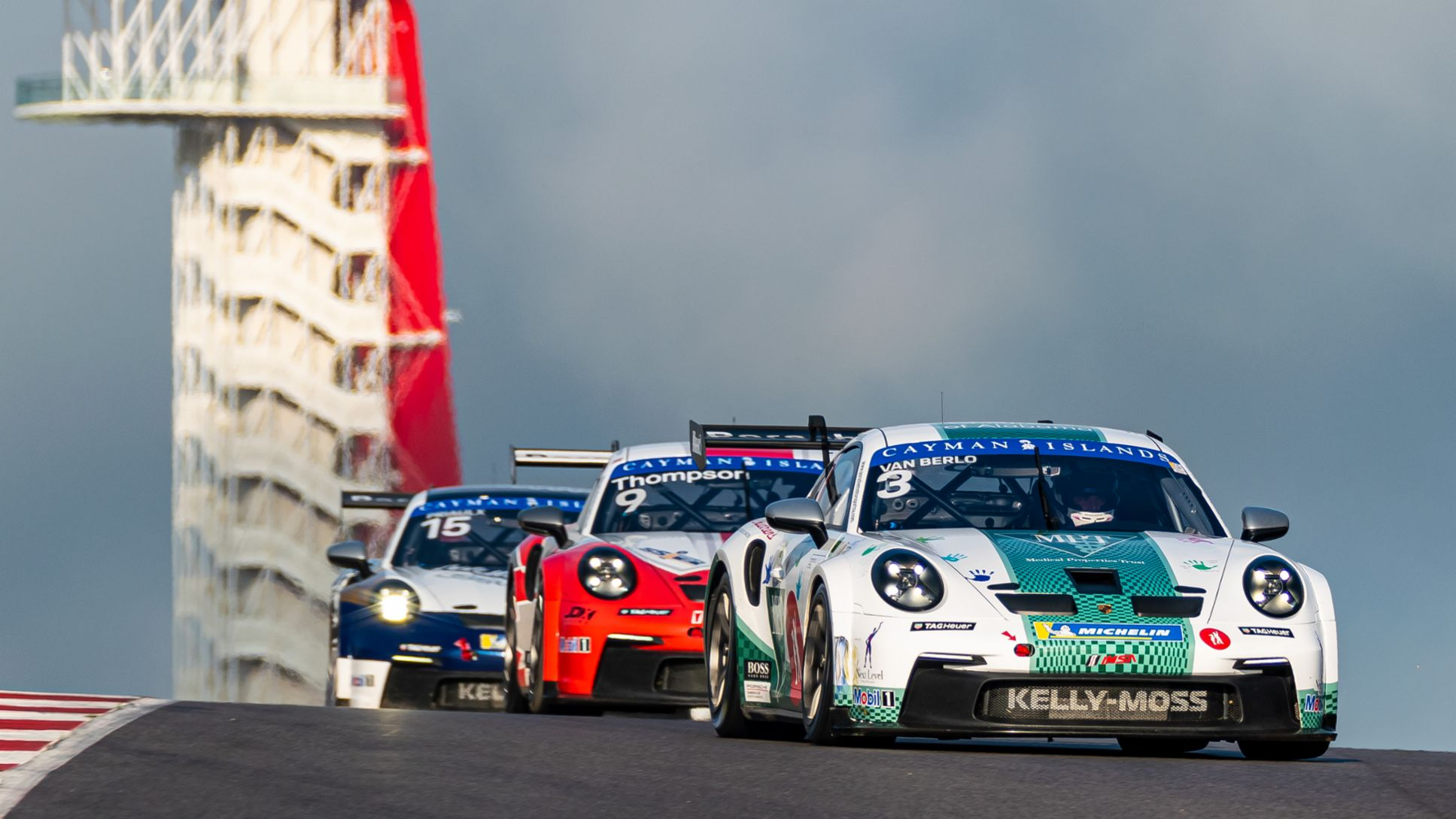 Porsche Carrera Cup North America Presented by the Cayman Islands - Race 1 - Kay van Berlo (Netherlands) leads Parker Thompson (Canada) and Seb Priaulx (UK), 911 GT3 Cup, COTA, Austin, 2021, PCNA