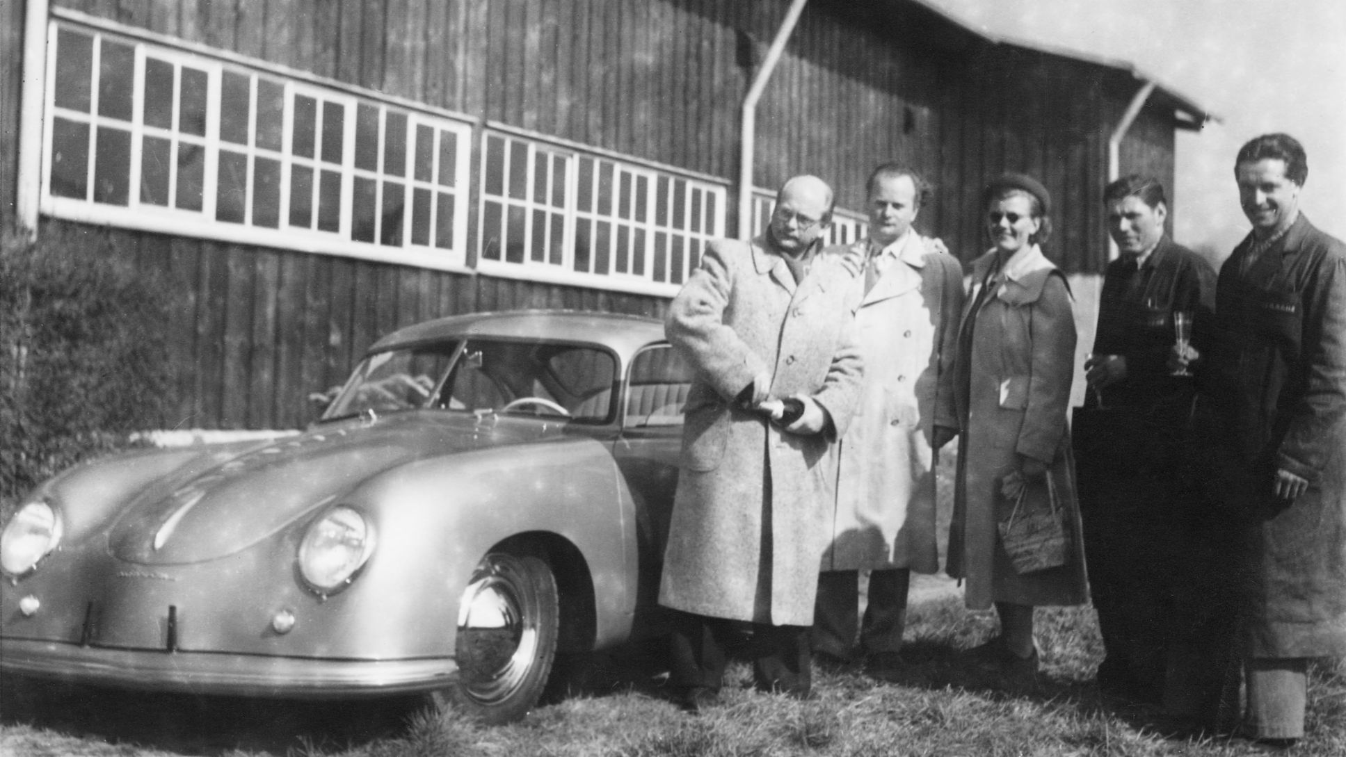 Handover of one of the first 356 to Dr Ottomar Domnick, 1950, Porsche AG