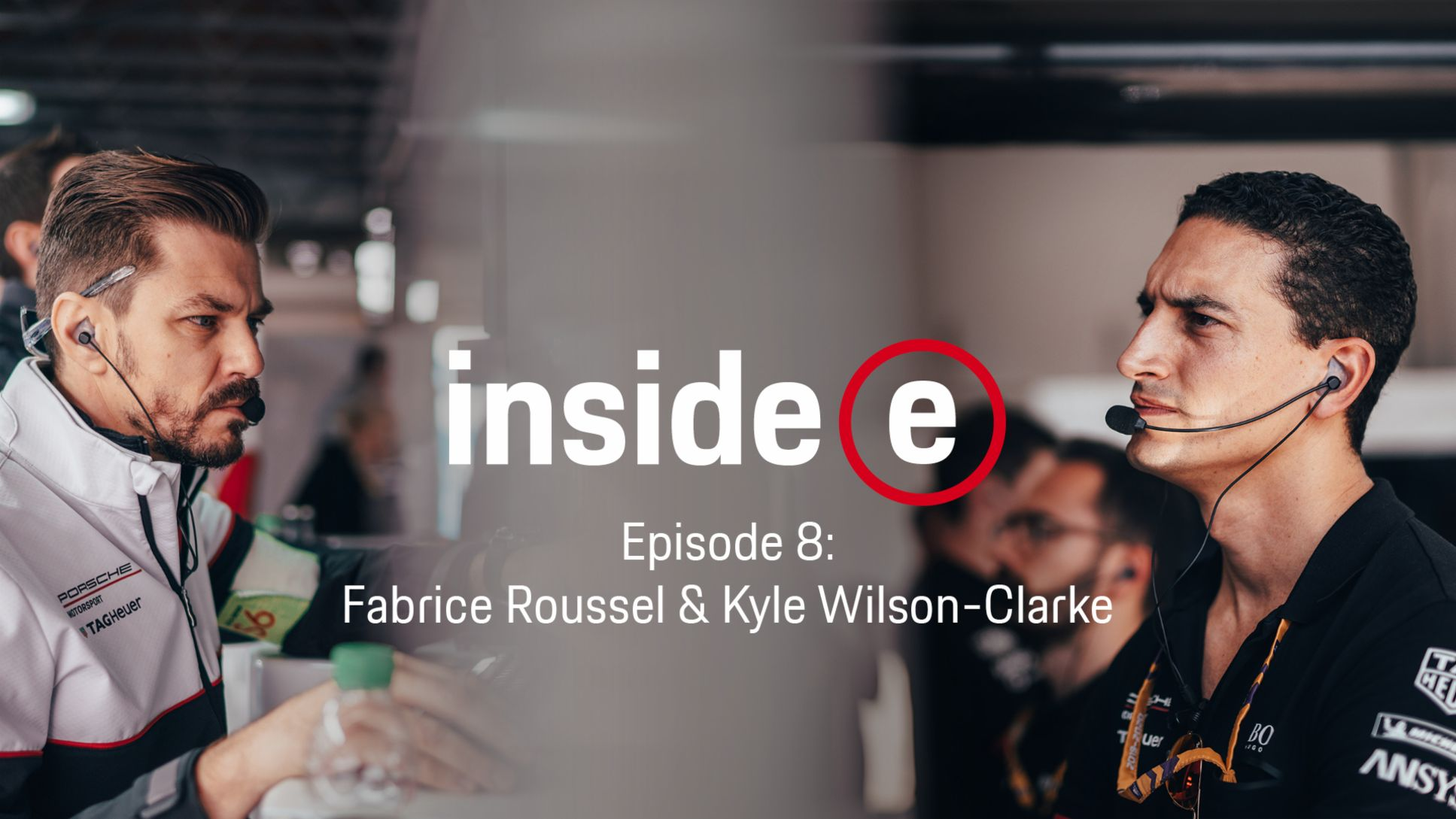 """Inside E"" podcast, episode 8 with Fabrice Roussel and Kyle Wilson-Clarke, l-r, 2020, Porsche AG"