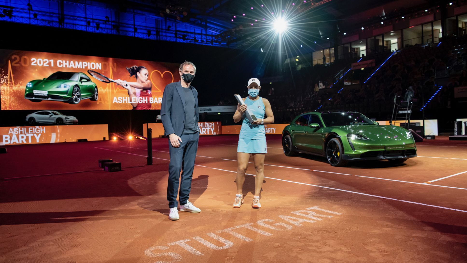 Oliver Blume, Chairman of the Executive Board of Porsche AG, Ashleigh Barty, l-r, Porsche Tennis Grand Prix, 2021, Porsche AG