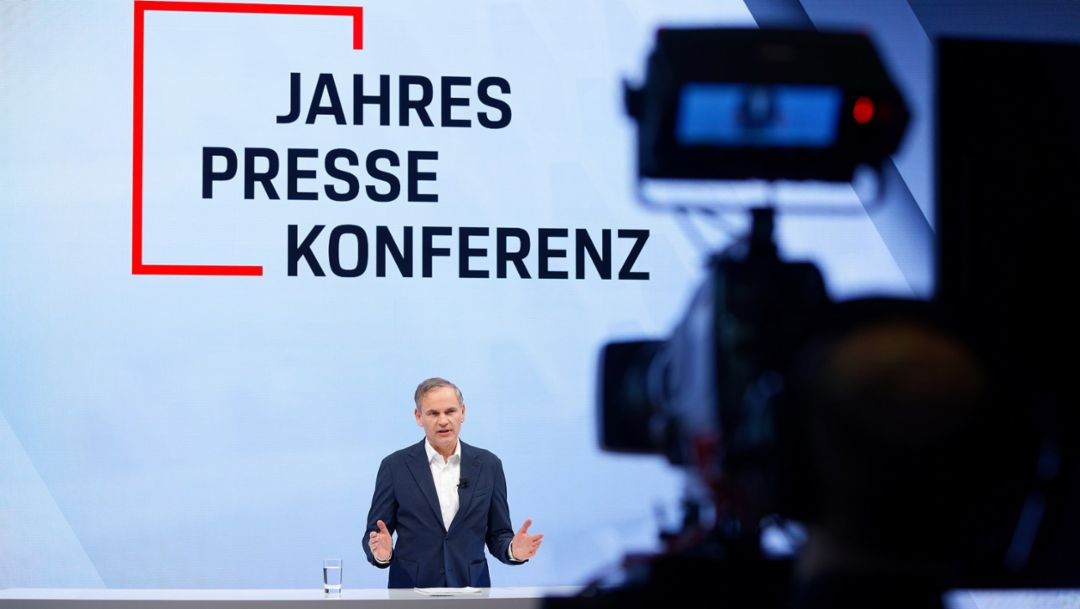 The recording of the annual press conference of Porsche AG