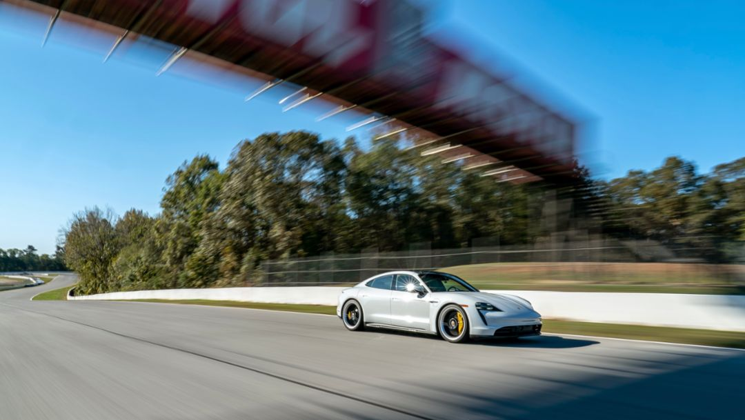 Taycan Turbo sets production EV lap at Road Atlanta