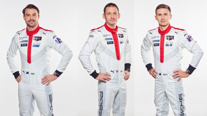 (L-R) Porsche works drivers Earl Bamber (NZL), Nick Tandy (GBR) and Matt Campbell (AUS) will team up in the #93 Porsche 911 RSR at the 2020 Le Mans 24 Hours
