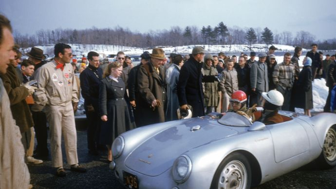 Max Hoffman and Porsche Club of America members at driving training in Thompson, Connecticut, 356, 1956, PCNA