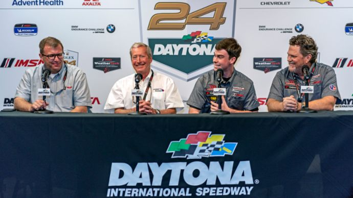 John Doonan, IMSA; Hurley Haywood; Riley Dickinson, David Moore, Moorespeed, l-r, 2019, PCNA