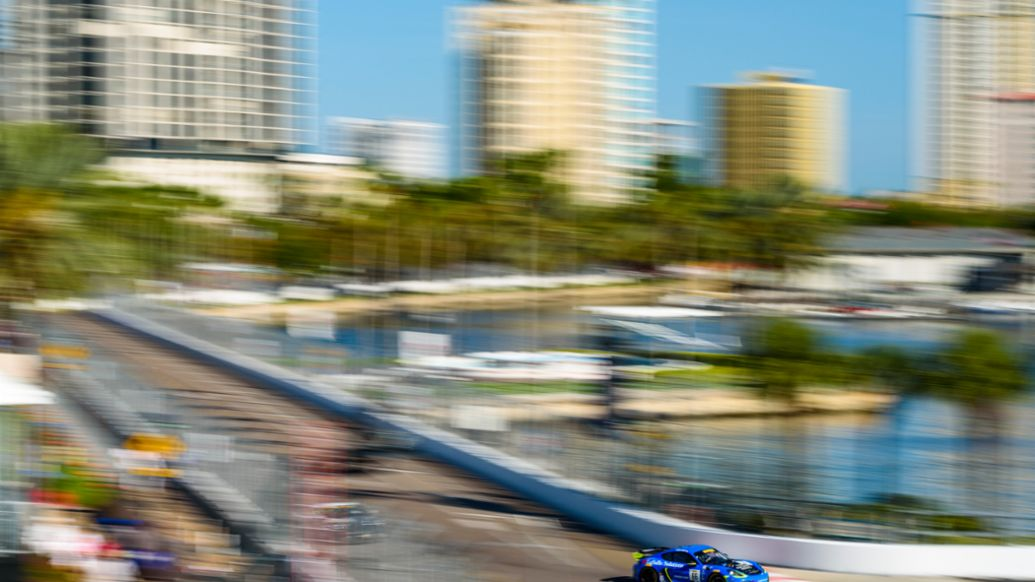 SRO GT4 East - St. Pete - Spencer Pumpelly in the No. 66 TRG Porsche 718 Cayman GT4 Clubsport, 2019, PCNA