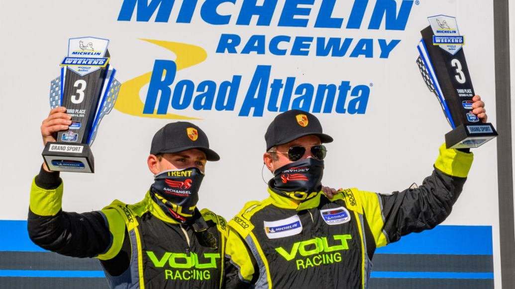 Michelin Pilot Challenge - Road Atlanta - No. 7 Archangle Motorsports Porsche 718 Cayman GT4 Clubsport - Trent Hindman (USA) and Alan Brynjolfsson USA) Celebrate Podium Finish, 2020, PCNA