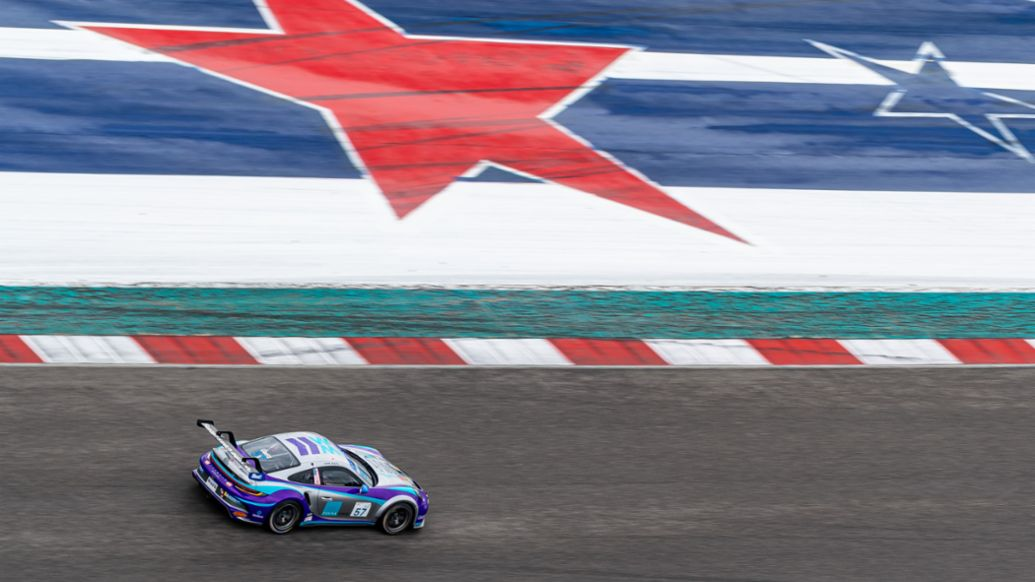 John Goetz (USA) in the No. 57 Wright Motorsports Porsche 911 GT3 Cup car at COTA - Porsche Carrera Cup North America Presented by the Cayman Islands during COTA Practice, 911 GT3 Cup, COTA, Austin, 2021, PCNA