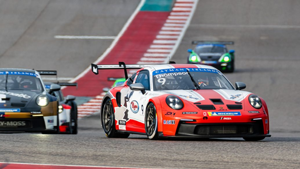 Porsche Carrera Cup North America Presented by the Cayman Islands - Race 1 - Race Winner Parker Thompson (Canada) - No. 9 JDX Racing Porsche 911 GT3 Cup, COTA, Austin, 2021, PCNA
