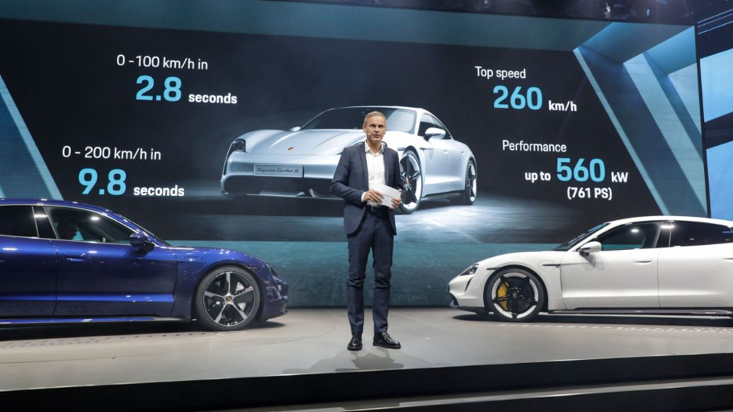 Oliver Blume, Chairman of the Executive Board of Porsche AG, Exhibition premiere of the new Taycan, IAA 2019, Porsche AG