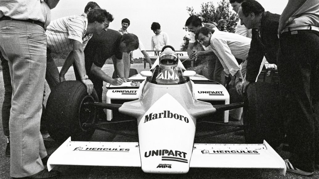 First drive of the TAG Turbo in the McLaren chassis, 1982, Porsche AG