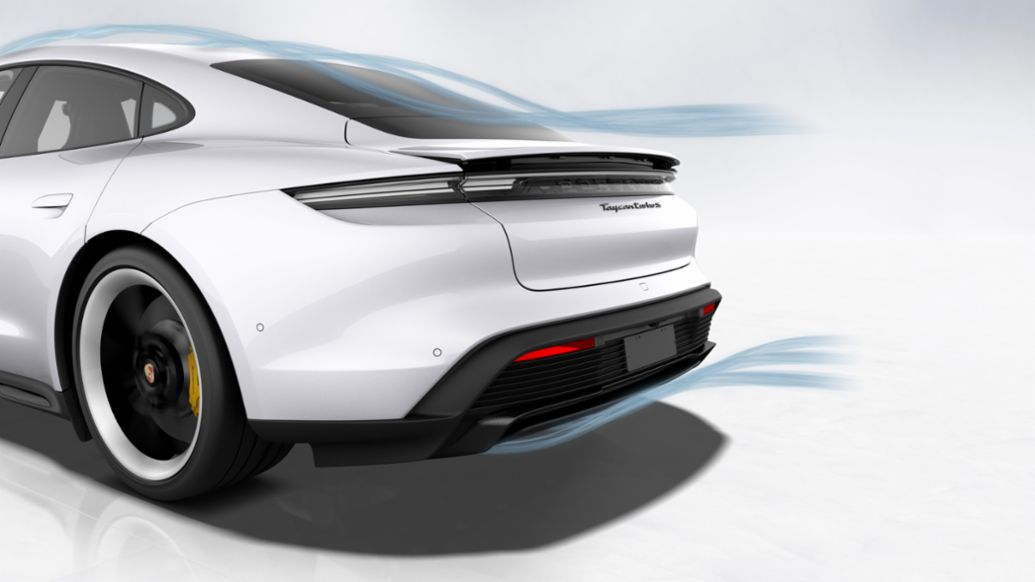 Taycan Turbo S: Aerodynamics, rear, 2019, Porsche AG