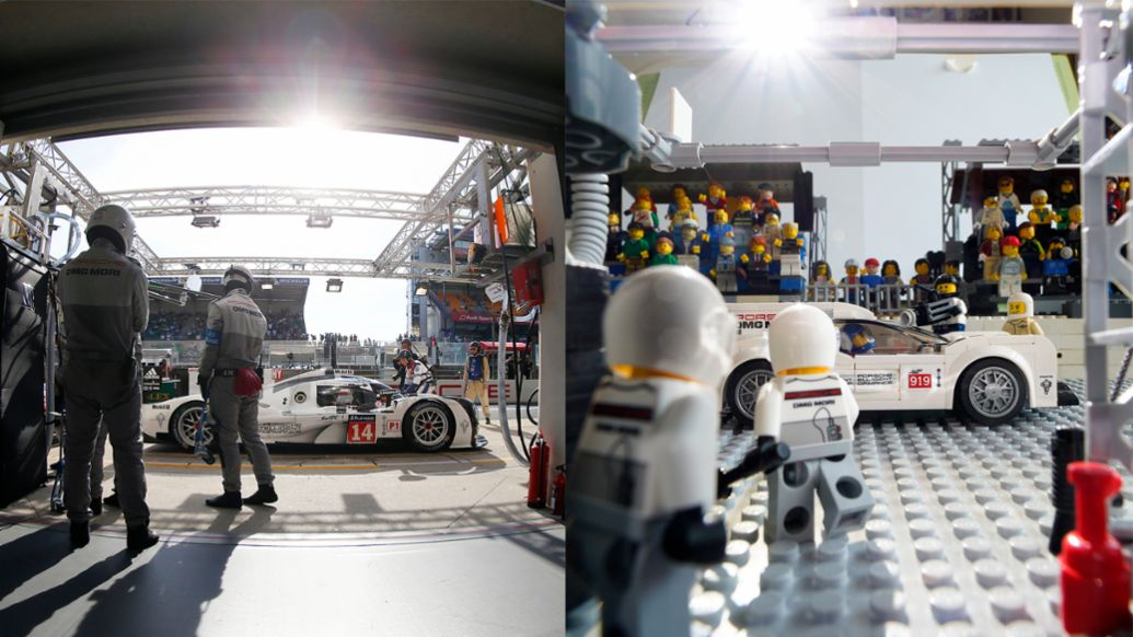 919 Hybrid in the pit garage, recreation with Lego, 2020, Porsche AG