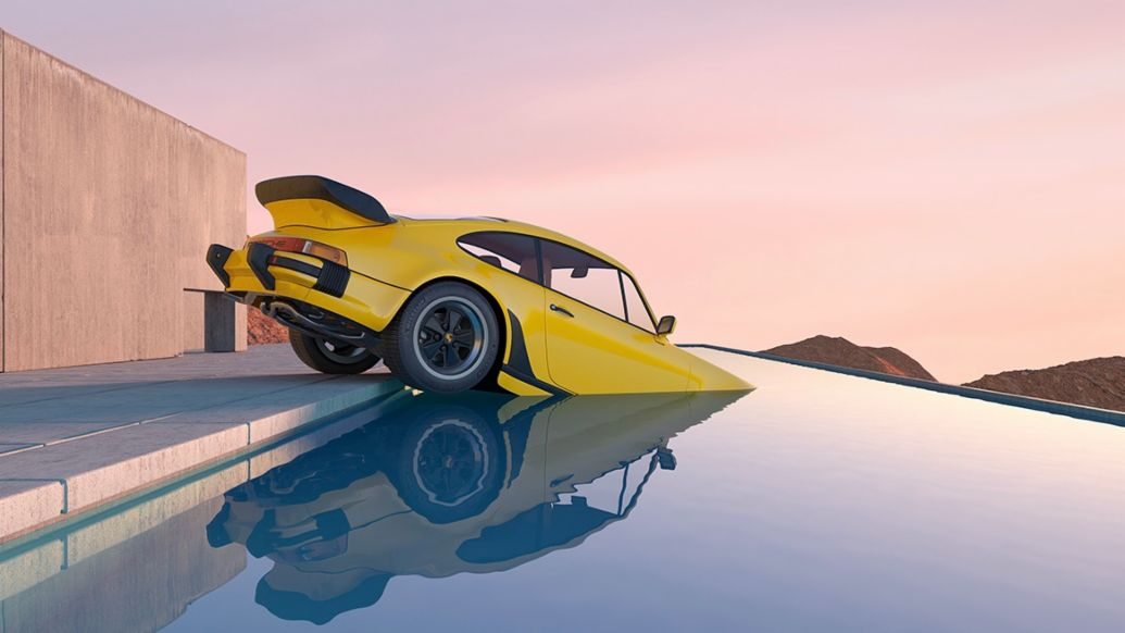 Yellow 911 Turbo in a pool, Art of Chris Labrooy, 2020, Porsche AG