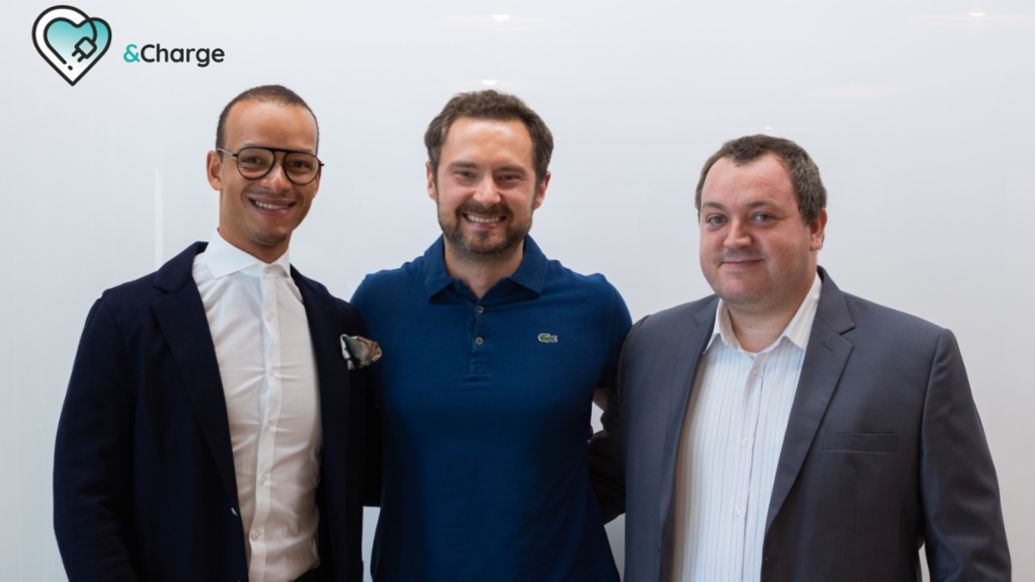 &Charge founders: Simon Vogt, Chief Sales Officer, Eugen Letkemann, Chief Executive Officer, Matthias Drechsler, Chief Technology Officer, 2020, Porsche AG