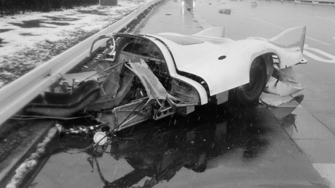 Kurt Ahrens's accident in the 917.006(040), Ehra Lessia, March 1970, Porsche AG