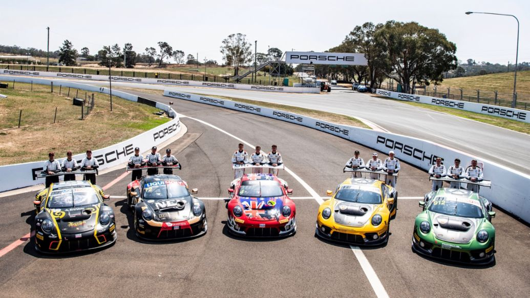 911 GT3 R, EBM, NED Racing, Grove Racing, Absolute Racing (911), Absolute Racing (912), Free Practice, Intercontinental GT Challenge, Round 1, Bathurst 12 Hour, Australia, 2020, Porsche AG