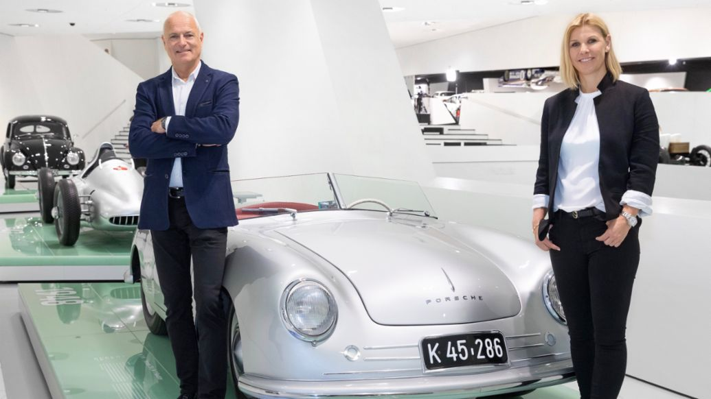 Markus Günthard, Anke Huber, l-r, Tournament management of the Porsche Tennis Grand Prix, Porsche 356, 2020, Porsche AG