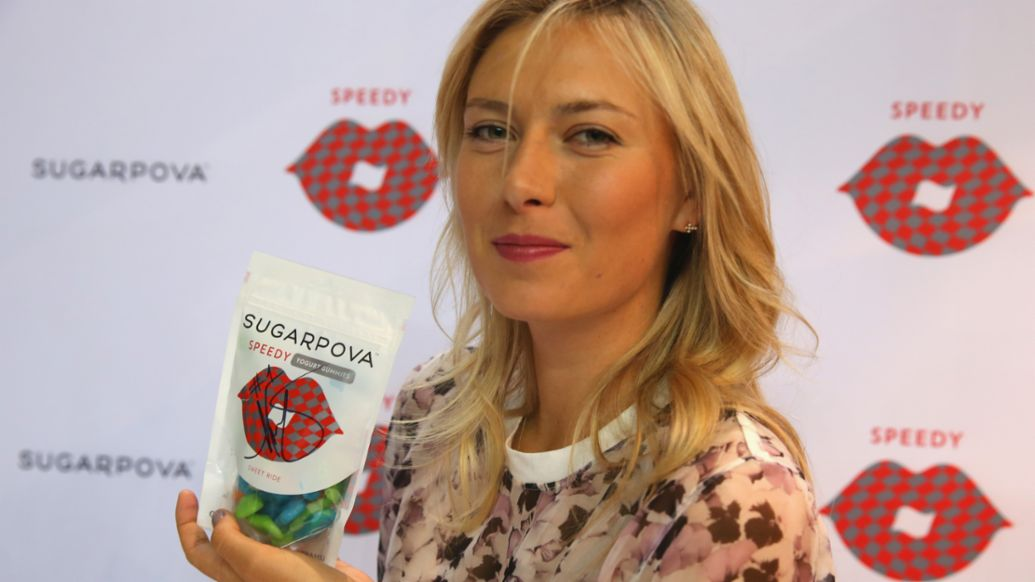 "Maria Sharapova, Sugarpova's launch of ""Speedy"", 2014, Porsche AG"