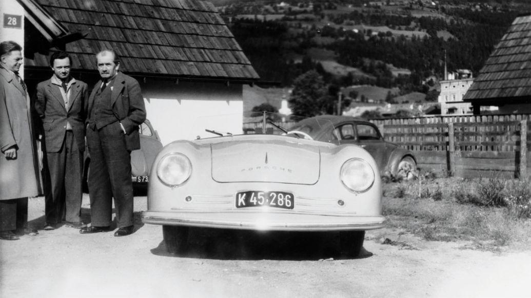 Erwin Komenda, Ferry Porsche, Ferdinand Porsche, l-r, 356 Nr. 1 Roadster, 1948, Porsche Engineering