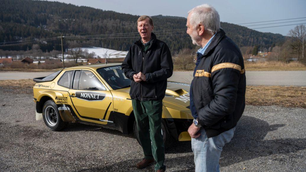 Walter Röhrl y Roland Kussmaul (i-d), 924 Carrera GTS Rally, 2021, Porsche AG