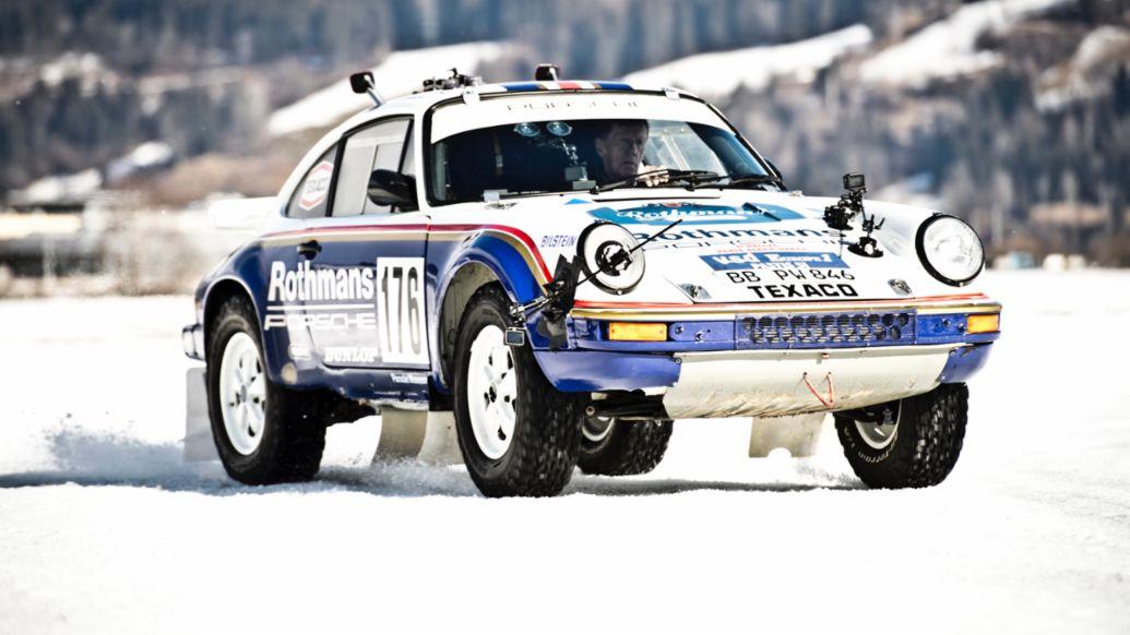 Walter Röhrl, Porsche-Markenbotschafter, 911 Carrera 3.2 4x4 Paris-Dakar (953), Cold Start by GP, Zell am See, Österreich, 2021, Porsche AG