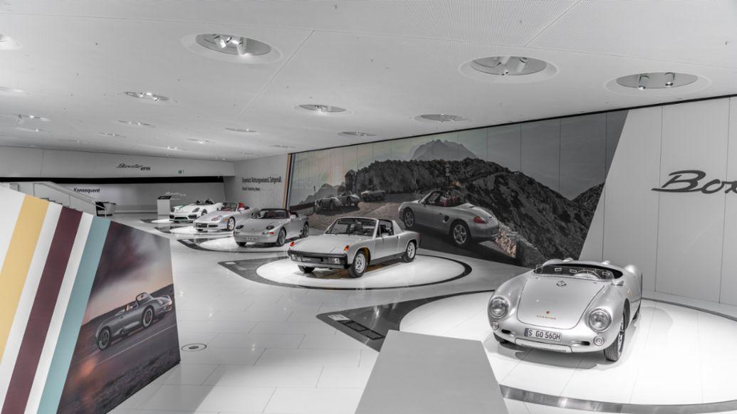 """Boxster Bergspyder, Schnittmodell des 986, 984, 914/4, 550 Spyder, Sonderschau """"25 Jahre Boxster"""", Porsche Museum, 2021, Porsche AG, Sonderschau """"25 Jahre Boxster"""", Porsche Museum, 2021, Porsche AG"""