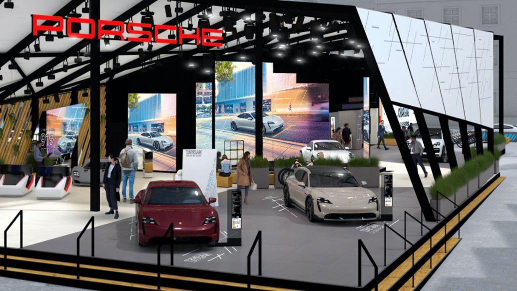 Porsche stand at Wittelsbacher Platz, IAA Mobility 2021, Munich, Germany, 2021, Porsche AG