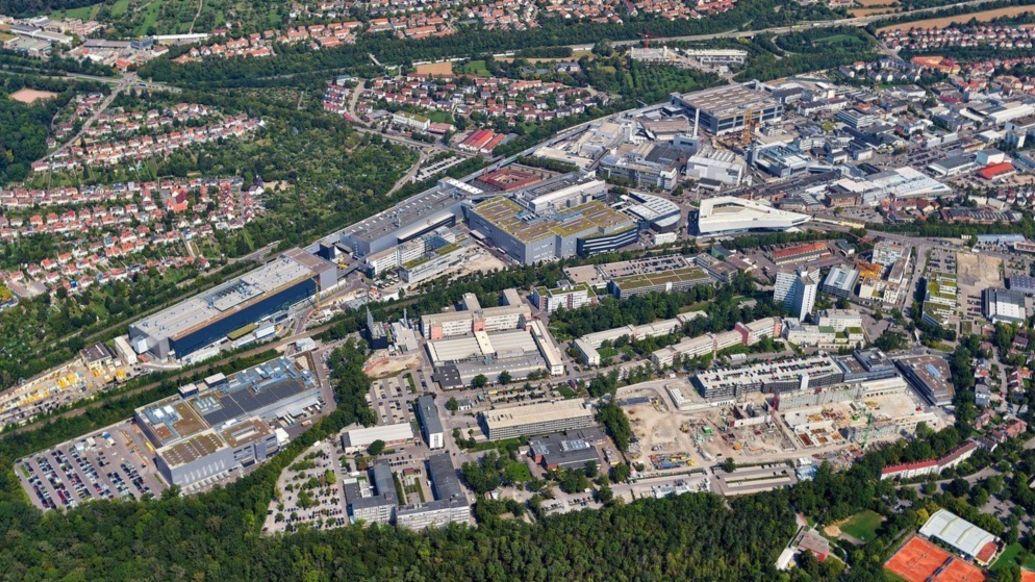 Aerial view of Porsche Leipzig plant, 2021, Porsche AG