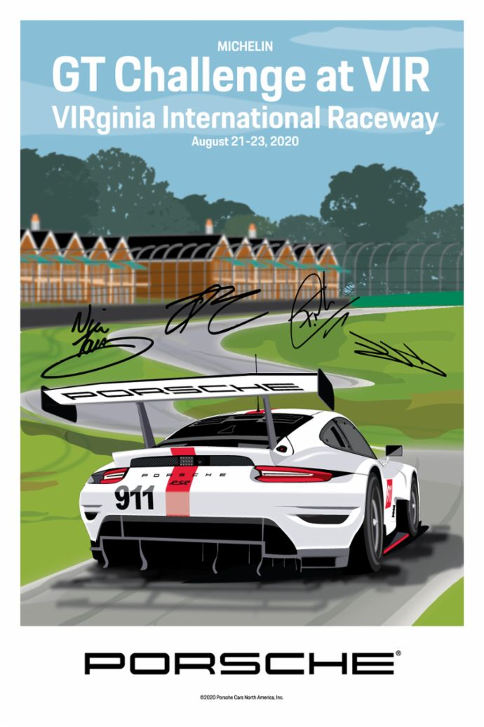 VIRginia International Raceway, IMSA WeatherTech SportsCar Championship, signed poster, 2020