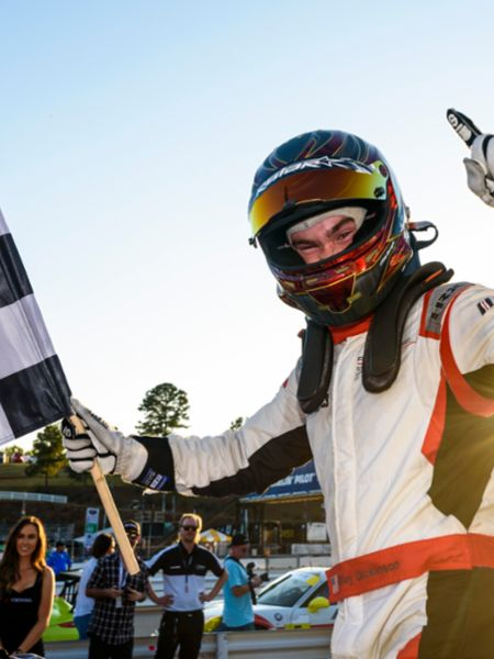 Riley Dickinson celebrates Race 1 Win at MRRA, 2019, PCNA
