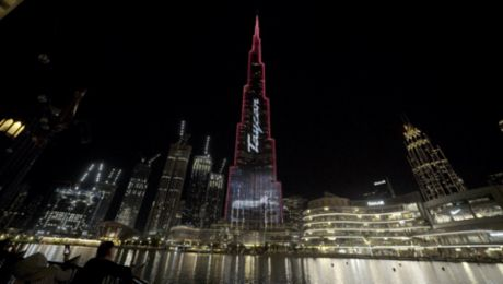 Porsche Taycan electrifies the world's tallest building: Dubai's Burj Khalifa