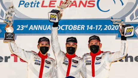 "Campbell and Porsche GT Team celebrate first win of the IMSA season at ""Petit Le Mans"""