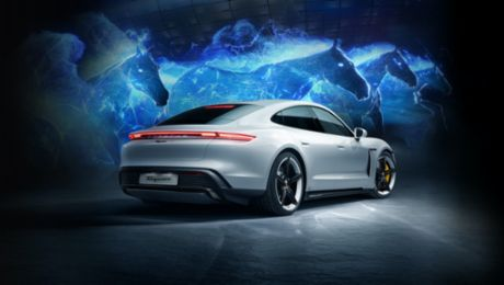 The all-electric Porsche Taycan launches in Korea with a breath-taking hologram show
