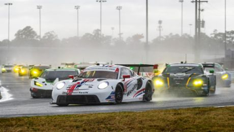 Podium Roar. Porsche Teams Score Top-Three Results in Rolex 24 Qualifier.