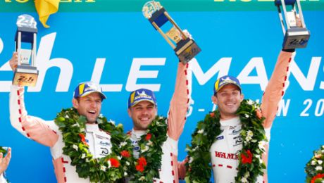 Porsche celebrates double victory at Le Mans