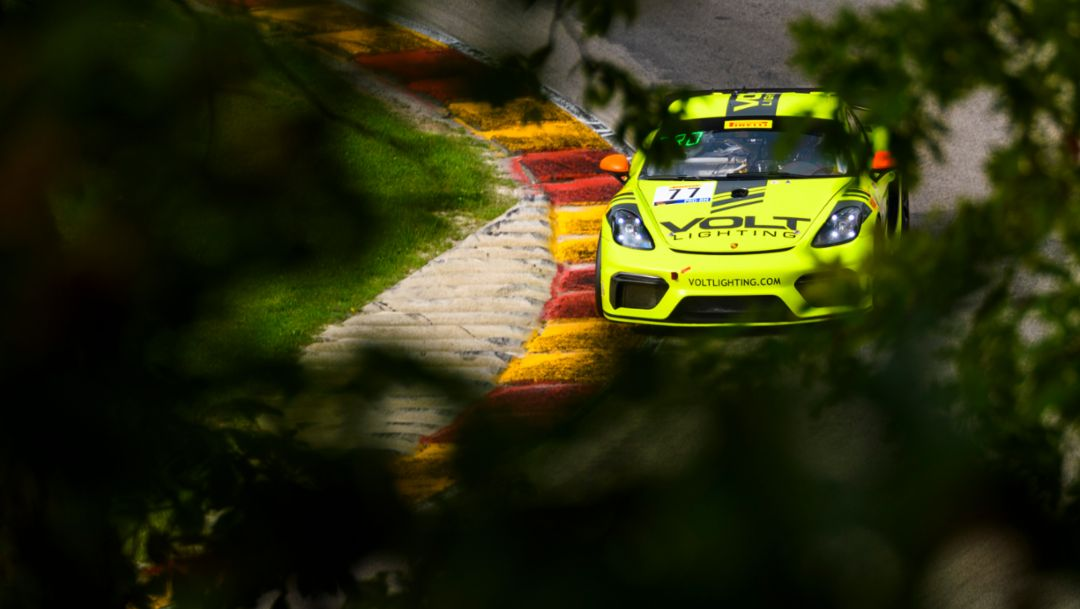 Place in the Rain. Park Place 718 Cayman GT4 Clubsport Adds SRO Road America Win.