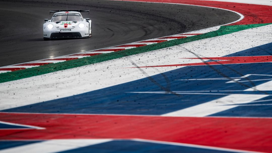 Porsche Podiums. 911 RSR Earns Second-Place for Works Team, Third-Place for Customer Effort in Austin.