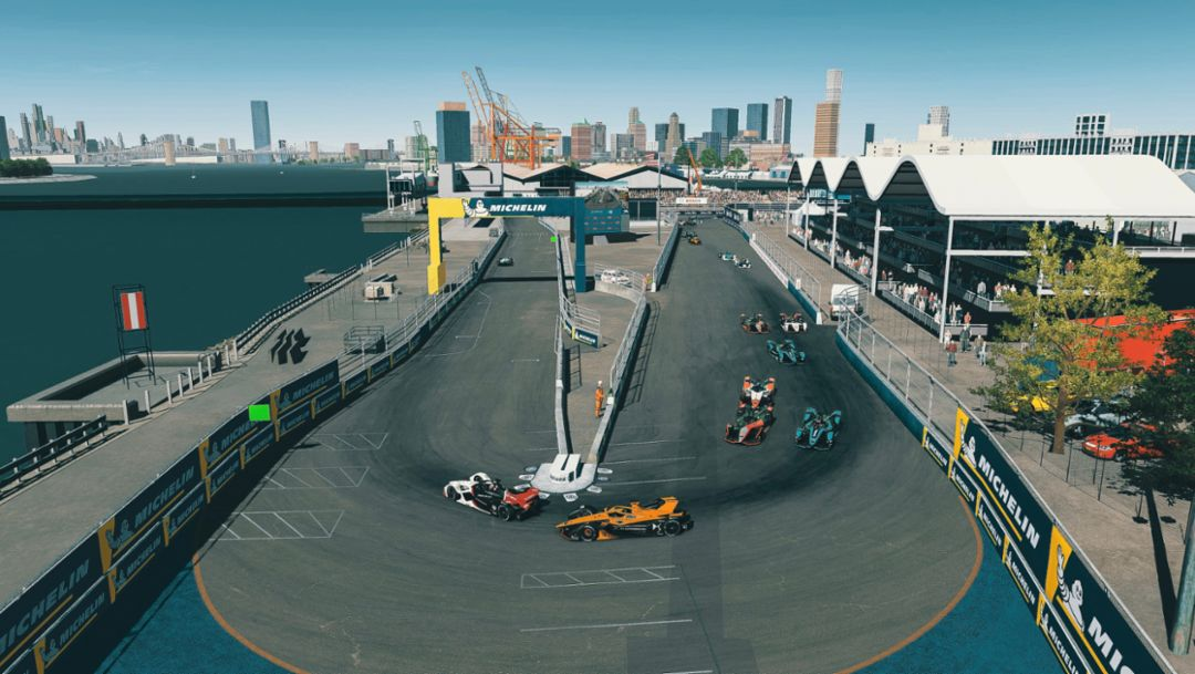 New York, New York. Porsche Aces Celebrate Top-10 in Virtual Formula E.