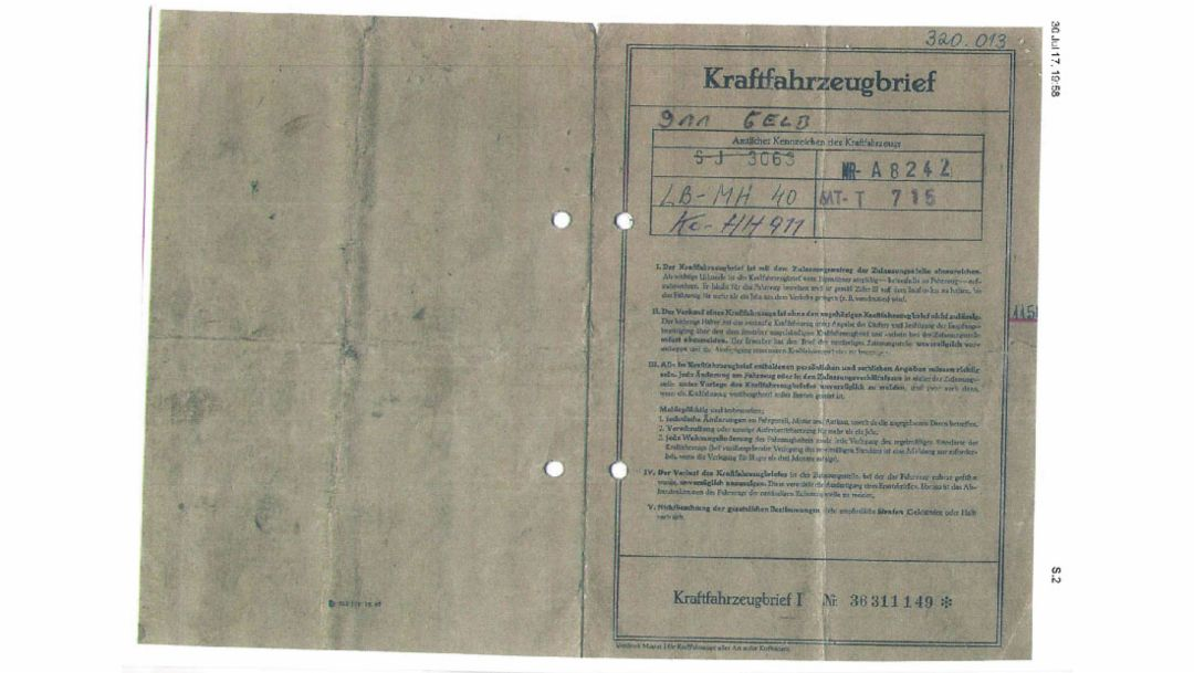 Vehicle registration document Hans Mezger, 2018 Porsche AG