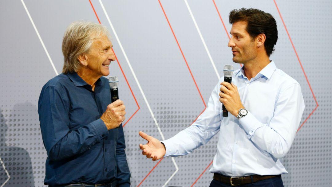 Derek Bell, Mark Webber, l-r, Le Mans, 2016, Porsche AG