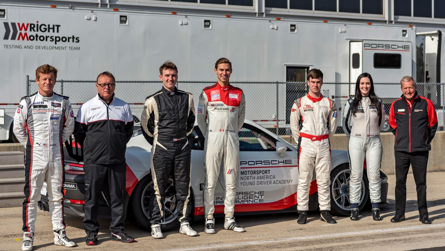 Patrick Long, David Brown, Jeff Kingsley, Riley Dickinson, Hannah Zellers, Hurley Haywood, l-r, Porsche Young Driver Academy, 2019, PCNA