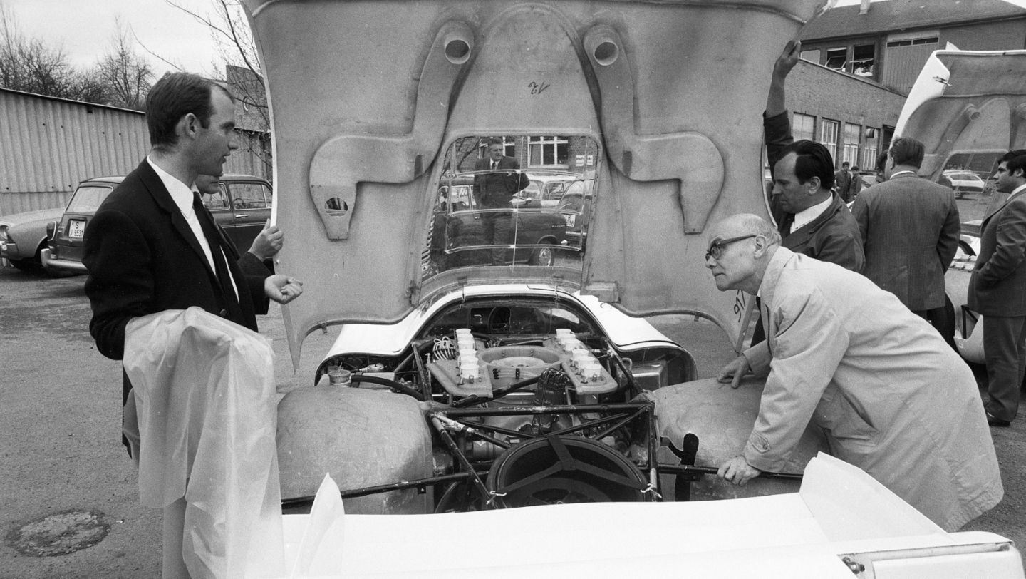 "Ferdinand Piëch (left) next to the Porsche Type 917 LH Coupé, Porsche plant ""Werk 1"", 1969, Porsche AG"